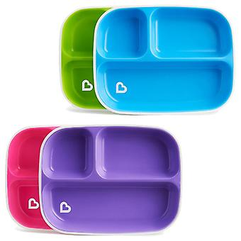 Munchkin splash divider plates 4pk pink and purple green and blue