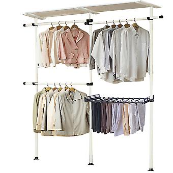 Adjustable Closet Organizer System Kit, Floor to Ceiling Clothes Hanger with Inner Spring for Living Room, Bedroom