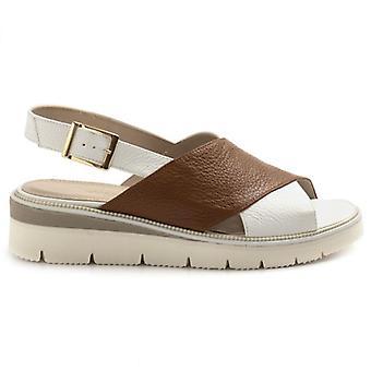 Sandal för kvinnor med korsband Sangiorgio i vitt läder och läder