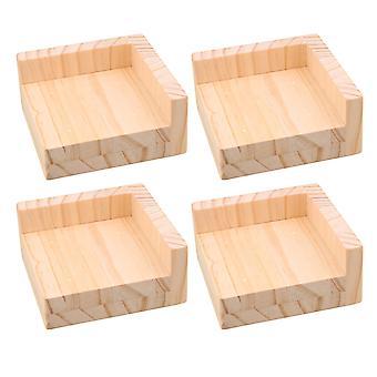 4x Holz Möbel Riser Bettheber 9,8 x 9.8cm Füße für 3cm Lift Höhe