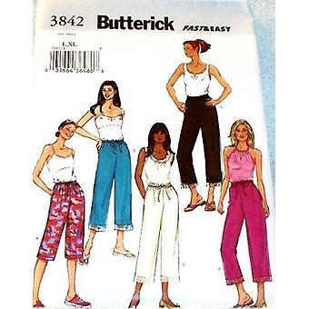 Butterick ompelu kuvio 3842 Misses Löysät sopivat housut 2 pituudet Koko L & XL