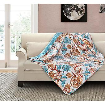 Spura Home Beach Comber Botanical Quilted Floral & Pastels Throw