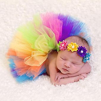 Baby Newborn Toddler Flower Tutu Rainbow Skirt