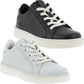 ECCO Girls Street Tray K Casual Leather Lace Up Trainers Sneakers Shoes