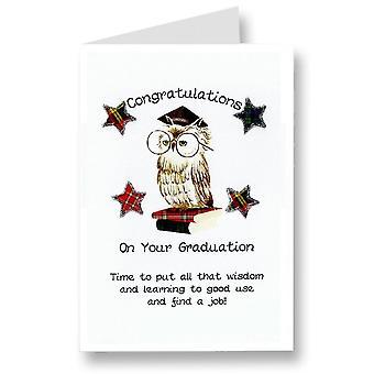 Embroidered Originals Congratulations On Your Graduation Owl Scottish Card