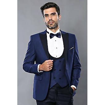 Combined navy blue vested tuxedo | wessi