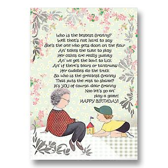 Embroidered Originals Tae The Bestest Granny Birthday Card Bd197