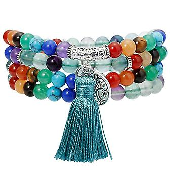 KYEYGWO 108 Mala beads for men and women, 6 mm, Tibetan Buddhist healing stones, unisex necklace and League, color: #1-7 Chakra Ref. 0715444083723
