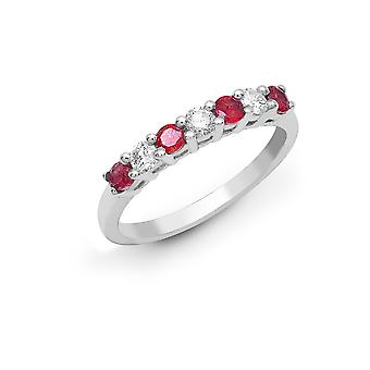 Jewelco London 18ct White Gold 4 Claw Set Round H SI 0.2ct Diamond and Round Red 0.4ct Ruby Half Eternity Ring 3mm