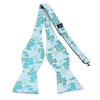 Green & blue floral bow tie & pocket square set