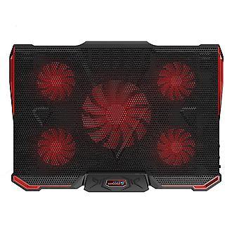 Imagen 1 usb portátil almohadilla de refrigeración 5 ventiladores más frío st multi-ángulo ajustable externo coolpad enfriador base disipador térmico soporte ventilador estera (rojo) dt3944