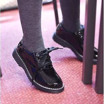 Start-Rite Impact Girls Leather Lace Up School Shoes Patent Black