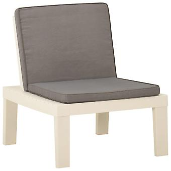 vidaXL Garden Lounge Chair with Support Plastic White