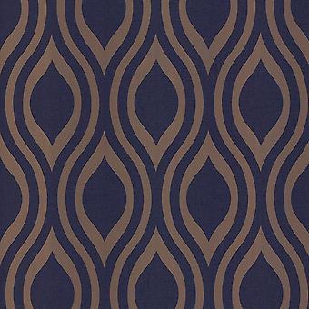 Arthouse Metaliczne tekstury Luxe Ogee Navy Złota Tapeta 910203