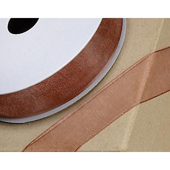 25m Copper 10mm Wide Woven Edge Organza Ribbon for Crafts
