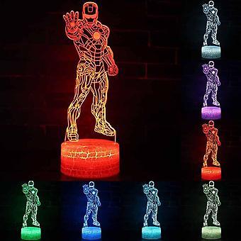 7 Farbe Illusion Tisch Schreibtischlampe 3D LED Nachtlicht Büste Iron Man Kinder Spielzeug
