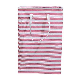 Swotgdoby Laundry Collapsible Basket, With Bold Handles, Cotton Striped Storage Bag For Clothes