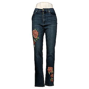 DG2 von Diane Gilman Damen Jeans 6T Tall Skinny w/ Stickerei Blau 681550