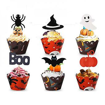 24pcs Halloween Kake Cup Topper Ghost Party Cupcake Halloween Dcoration