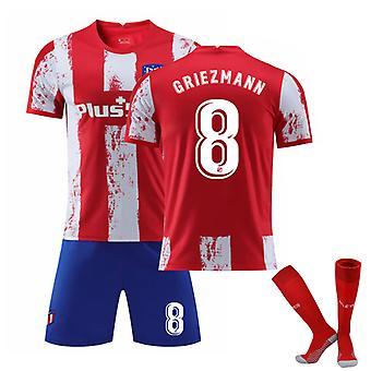 Antoine Griezmann #8 Jersey Home 2021-2022 Ny säsong Atletico Madrid Fotboll T-Shirts Jersey Set för Barn Ungdomar