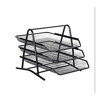File folders homemiyn mesh 3 tier document  letter tray  desk organizer  black