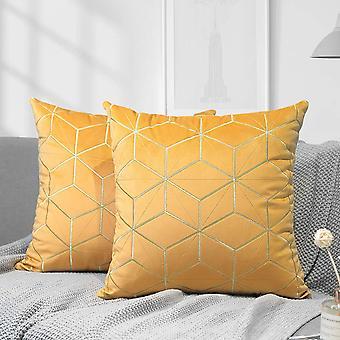 """Kultainen kirjonta sametti heittää tyynyn kansi sametti heittää tyynyliina kultaiset viivat Rhombus 18""""x18""""keltainen"""