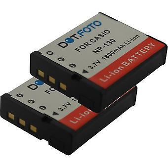 2 x Dot.Foto Casio NP-130, NP-130A batteri - 3.7V / 1800mAh