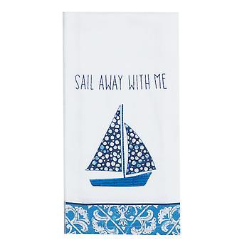 Kay Dee wateren rand zeilboot wegzeilen met mij bloem Sack keuken schotelhanddoek