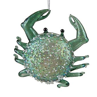 Nautical Seafoam Green Crab Blown Glass 4.75 Inch Christmas Holiday Ornament