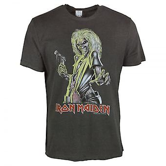 Amplified Mens Iron Maiden Killers T Shirt Charcoal