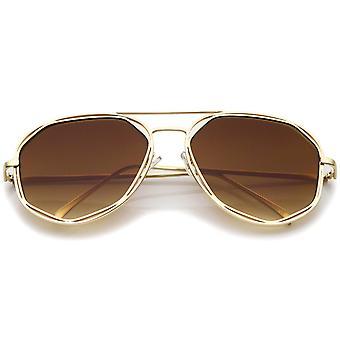 Геометрические гексагональной металлокаркаса нейтральных цветные очки авиатора плоский объектив 60 мм