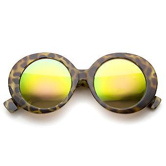 Womens High Fashion dikke gekleurde spiegel ronde oversized zonnebril 50mm