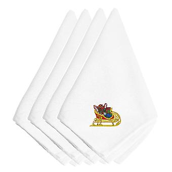 Christmas Sleigh with Presents Embroidered Napkins Set of 4
