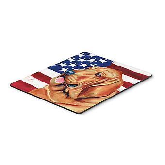 USA American Flag with Bloodhound Mouse Pad, Hot Pad or Trivet