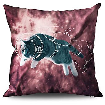 Cat Astronaut Funny Linen Cushion 30cm x 30cm | Wellcoda