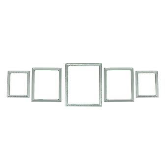 White Beveled Wood 5 Piece Gallery Wall Photo Frame Set