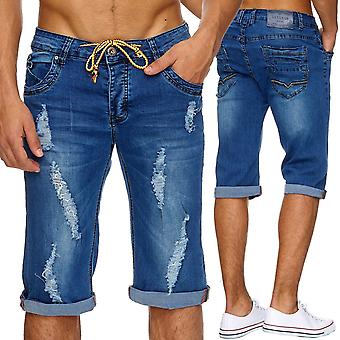Men's Jeans Shorts Short Pants Stonewashed Tears ripped frayed Neon cut out