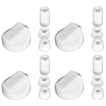 4 x uunit Universal liesi/uuni/Grilli säädintä ja adapterit valkoinen