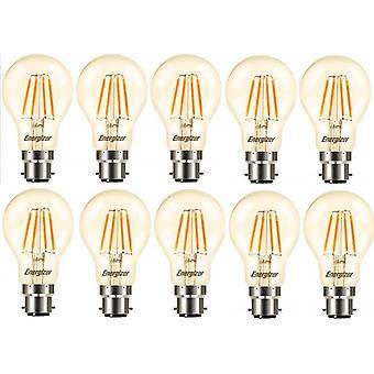 10 x Energizer GLS Globe Antique finition dorée à incandescence LED économie d'énergie ampoule B22 BC bouchon baïonnette [classe énergétique A +]