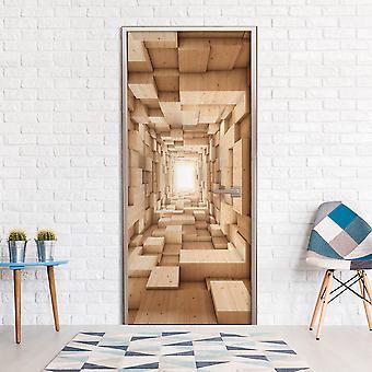 Photo wallpaper on the door - Wooden Tunnel