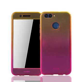 Huawei Nova 2 Caixa de proteção de caixas telefônicas caixa completa tampa tanque proteção vidro amarelo / rosa