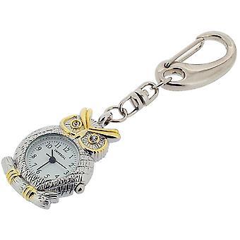 Cadeau tijd producten uil met CZ ogen klok Key Ring - zilver/goud