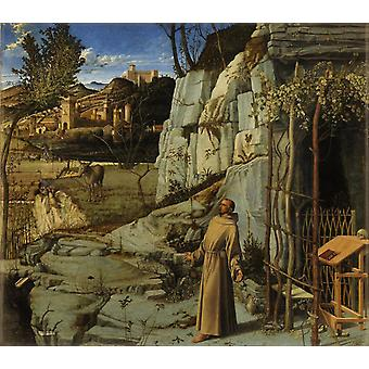 St Francis in the Wilderness,Giovanni Bellini,60x50cm