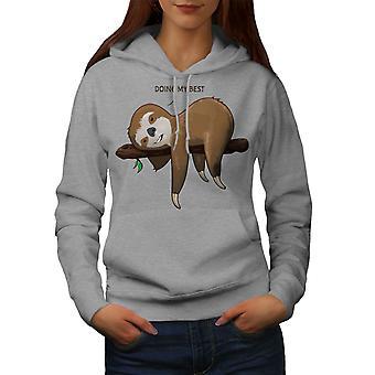 Sloth Lazy Women GreyHoodie | Wellcoda