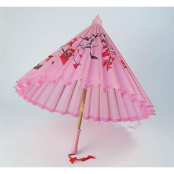 Parasol. Pink Silk + Wooden Handle.