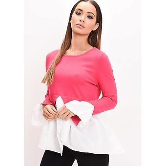 Shirt Hem franje manchet brei Jumper Fuchsia Roze