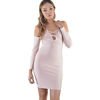 Lovemystyle Long Sleeve Cold Shoulder Dress In Pink