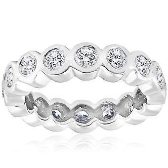 2ct Bezel Diamond Eternity Stackable Wedding Ring 14k White Gold