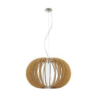 Eglo - Stellato 1 enkele lichte grote plafond hanger In Maple hout en witte Finish EG95601