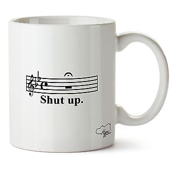 Hippowarehouse Shut Up Music Note Printed Mug Cup Ceramic 10oz